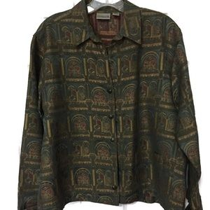 Chico's Silk Tapestry Jacket Size 1 Med.